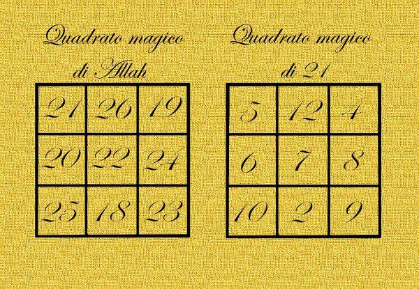 Quadrato magico di Allah e quadrato magico di 21 ESCAPE='HTML'